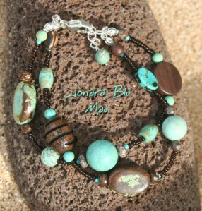 Double Strand Stabilized Turquoise and Wood Bracelet